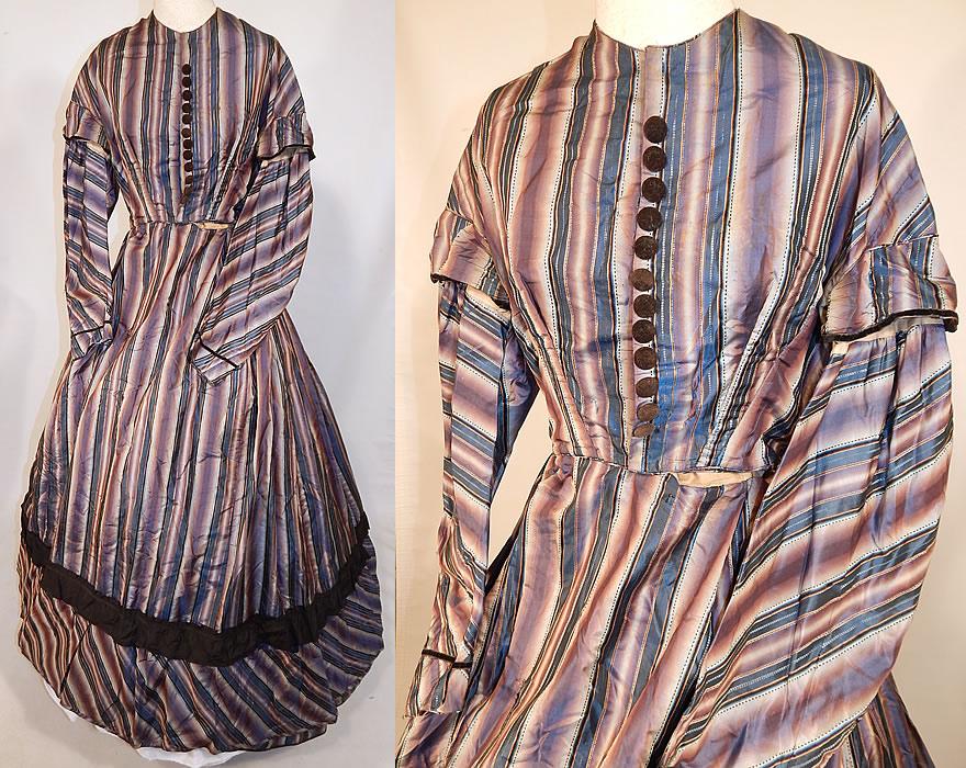 Victorian Civil War Era Purple Amp Blue Ombre Stripe Silk
