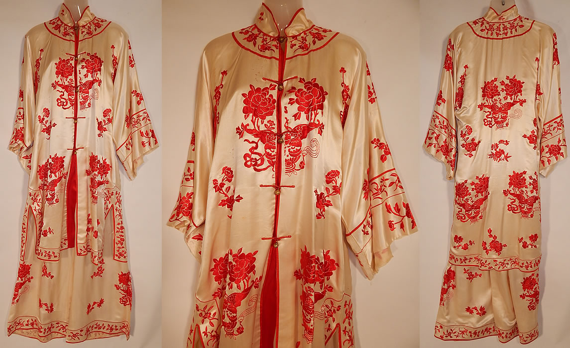 Vintage Red & White Silk Embroidered Chinese Butterfly Peony ...