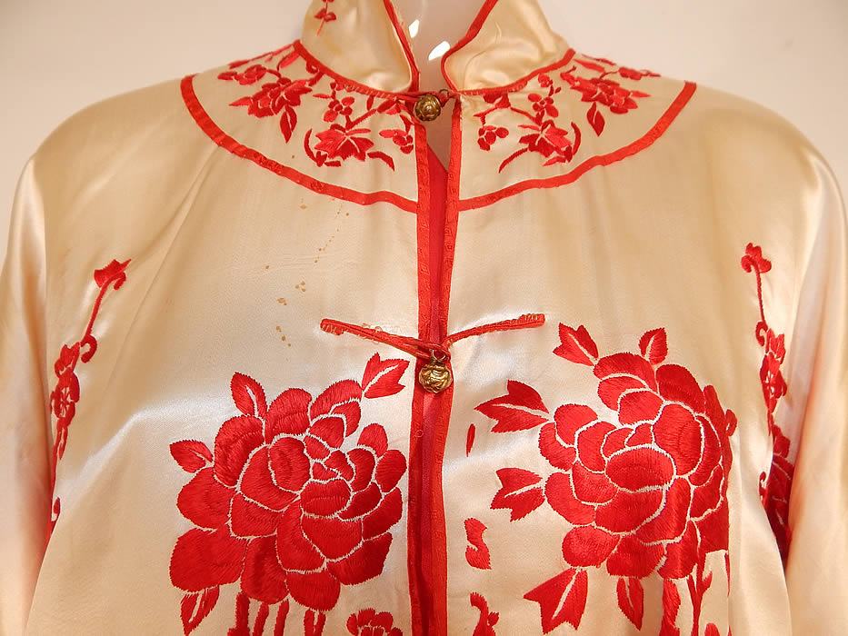 Vintage Red & White Silk Embroidered Chinese Butterfly Peony Pajamas Pants Robe