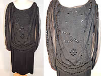 Vintage Art Deco Black Silk Jet Beaded Sequin Drop Waist Flapper Dress Gown