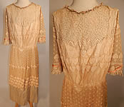 Edwardian Belle Epoque Cream Embroidered Net Lace Beaded Rosette Dress