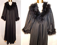 Vintage Janelle of California Black Marabou Feather Robe Peignoir Negligee Nightgown