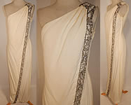 1960s Vintage White Silk de Chine Silver Beaded One Shoulder Grecian Goddess Gown