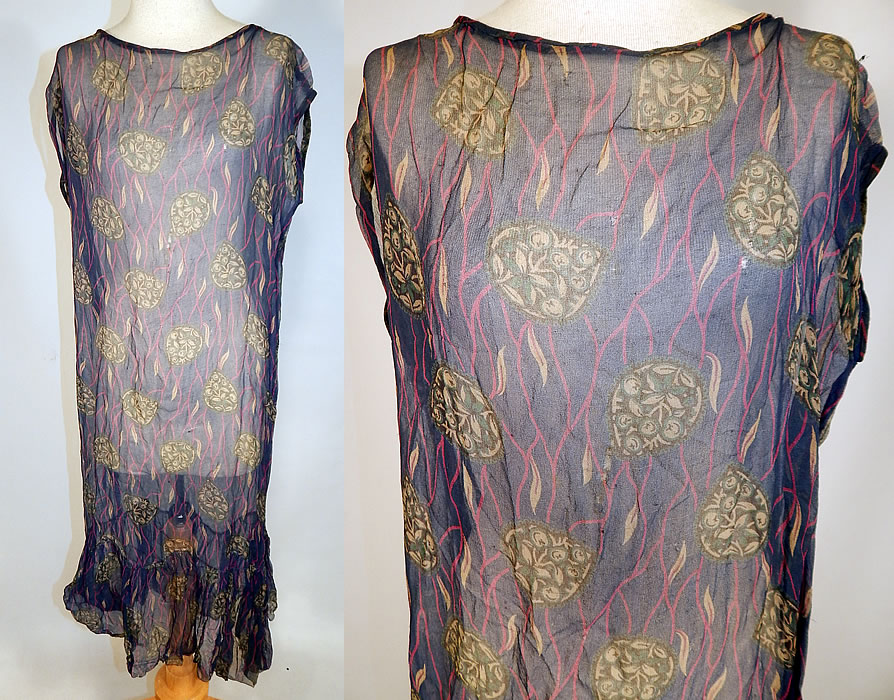Vintage Art Deco Navy Blue Green Leaf Abstract Print Silk Chiffon Drop Waist Dress