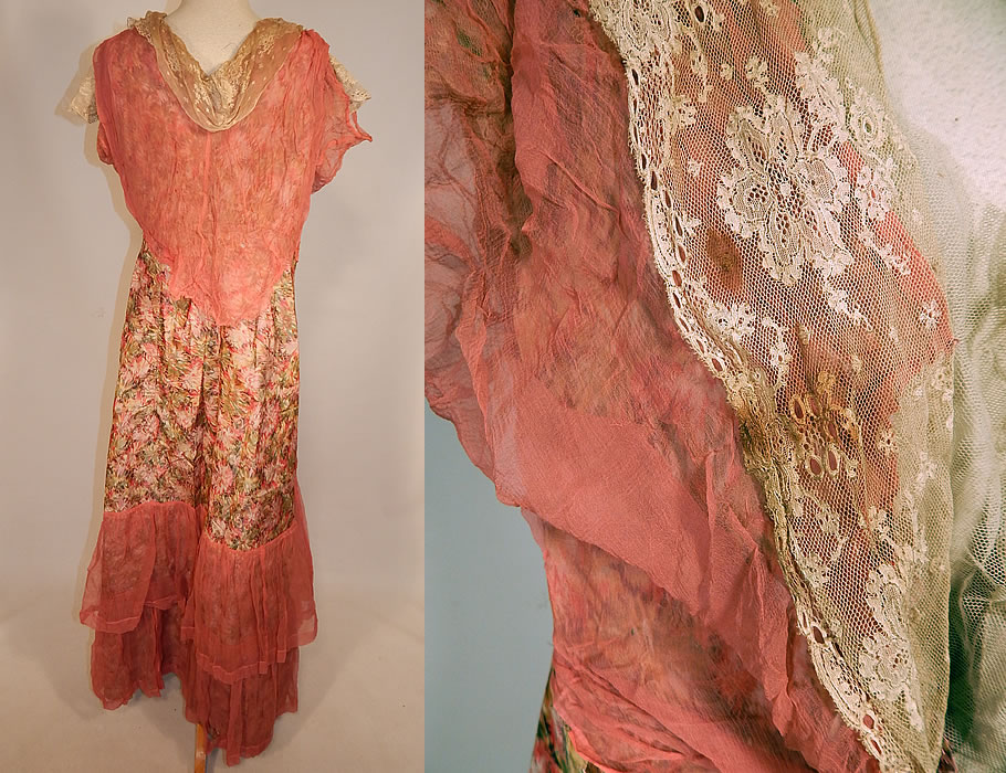 Edwardian Belle Epoque Moire Watered Silk Taffeta Pink Floral Ribbon Lace Dress