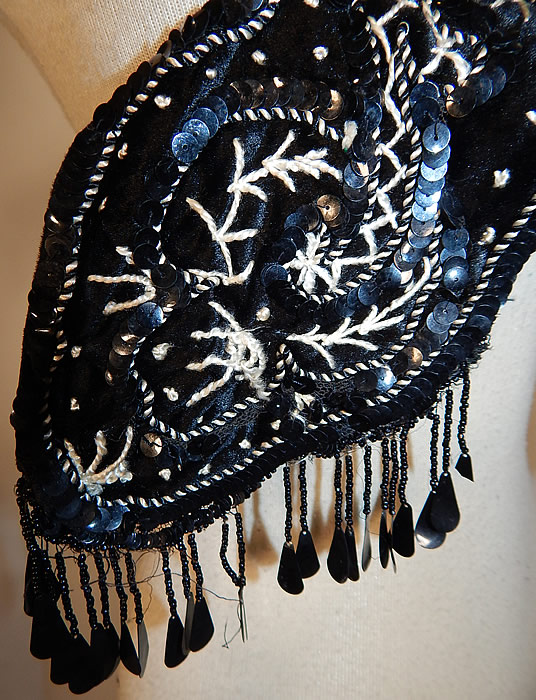 Edwardian Black Silk Velvet White Soutache Embroidery Dress Trim Collar
