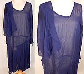 Vintage Art Deco Navy Blue Silk Chiffon Capelet Asymmetrical Drop Waist Dress