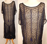 Vintage Art Deco Black Silk Chiffon Cobalt Blue Beaded Belted Drop Waist Flapper Dress