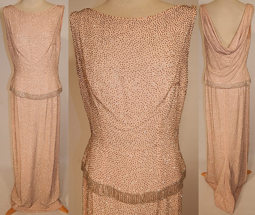 Vintage Hong Kong Custom Made Blush Pink Silk Silver Beaded Evening Gown