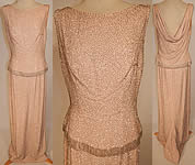 1950s Vintage Hong Kong Custom Made Blush Pink Silk Silver Beaded Evening Gown