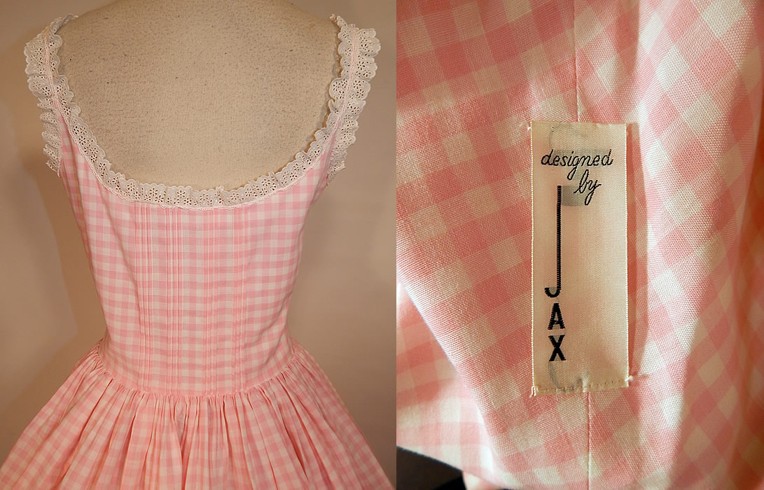 Vintage Designed By Jax Pink White Cotton Check Gingham