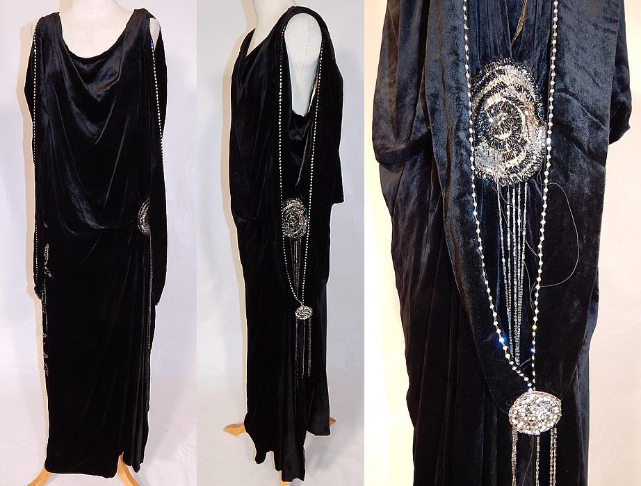Vintage Art Deco Black Velvet Silver Rhinestone Beaded Flapper Dress ...