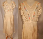 Edwardian Embroidered Pastel Flowers Cream Net Batiste Lace Dress Gown