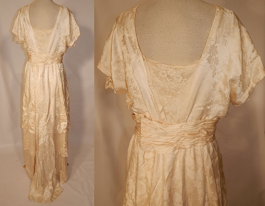 Edwardian Titanic Silk Damask Brocade Tambour Embroidery Lace Wedding Gown Dress
