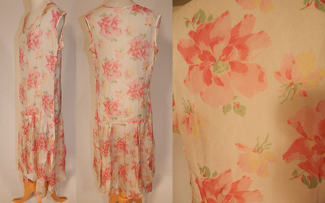 Vintage Pink Poppy Print Flower Silk Drop Waist Dress Handkerchief Hemline Skirt