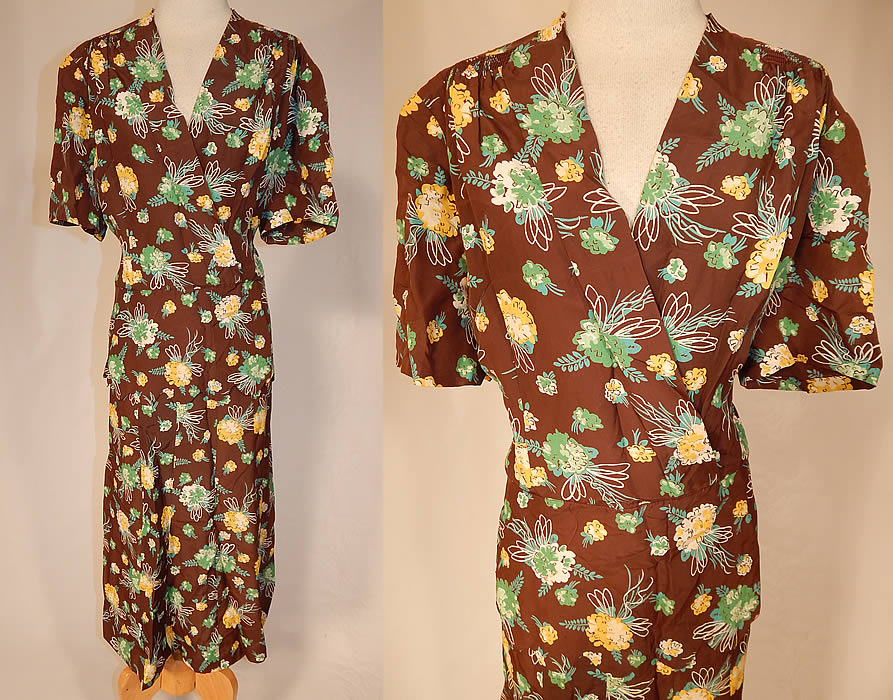 Vintage Brown Green Yellow Flower Bouquet Novelty Print Rayon Peplum Dress