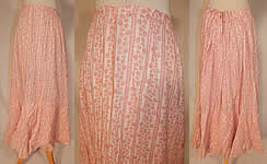 Victorian Vintage Red & White Stripe Cotton Calico Floral Print Petticoat Skirt