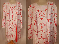 Vintage Casa Regional Portugal Madeira Hand Embroidery Lace Shift Dress & Coat