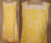 Vintage The Lilly Pulitzer Yellow & White Butterfly Novelty Print Lace Trim Shift Dress
