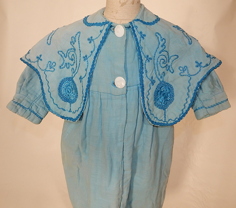 Edwardian Blue Embroidered Soutache Braided Trim Childs Winter Coat