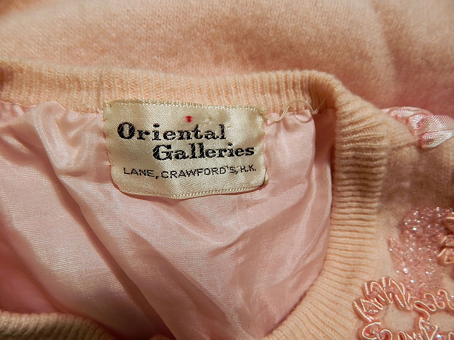 Vintage Oriental Galleries Hong Kong Pink Ribbon Work Beaded Sweater