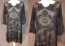 Vintage Black Macrame Crochet Fringe Fleur de lis Flapper Babydoll Dress Blouse Top