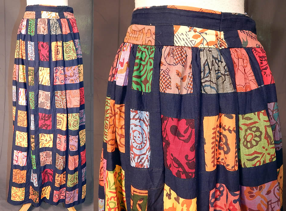 Vintage Something Oscar de la Renta Patchwork Batik Boho Maxi Skirt