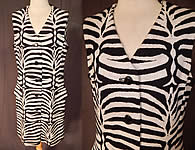1960s Vintage Kimberly Virgin Wool Knit Black & White Zebra Stripe Shift Dress