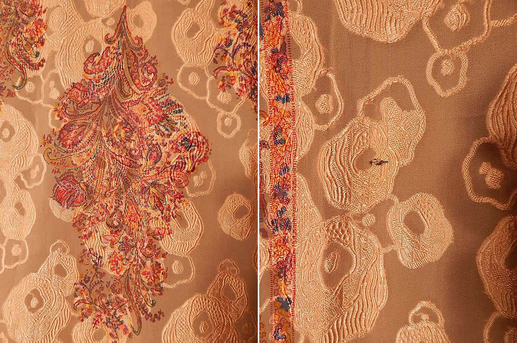Vintage Liberty Art Deco Peach Paisley Devore Burnout Silk Chiffon Cape Shawl