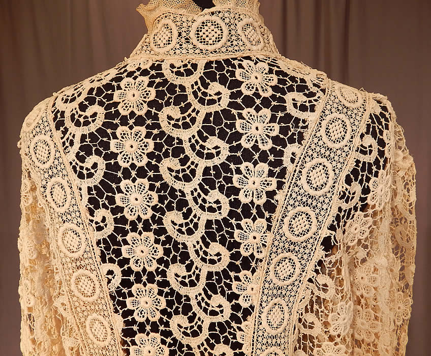 Vintage Edwardian Antique Cream Lace Cutaway Front Tailored Tail Coat Jacket
