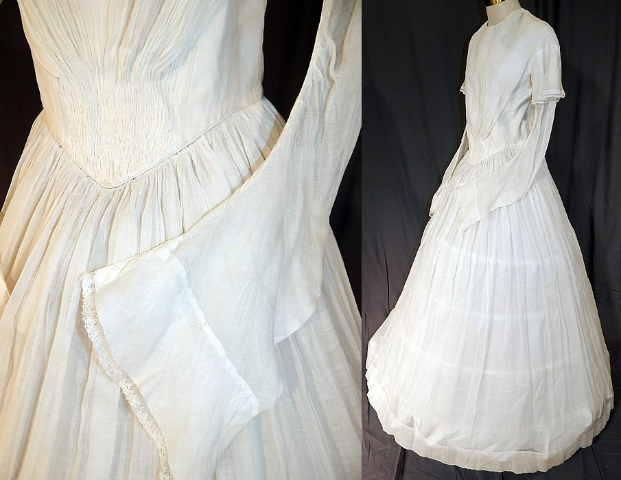 Victorian era white muslin hoop skirt wedding gown dress for Wedding dress skirt only
