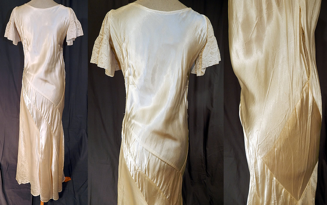 Vintage White Silk Satin & Lace Asymmetrical Bias Cut Wedding Gown Dress