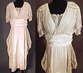 Vintage Robe de Style White Silk Embroidered Piano Shawl Lace Wedding Dress