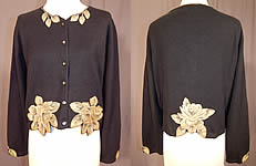 Vintage Marge Wing Black Cashmere Gold Hand Painted Magnolia Cardigan Sweater