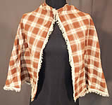 Victorian Brown & White Plaid Gingham Check Cotton Fichu Shawl Pelerine Cape