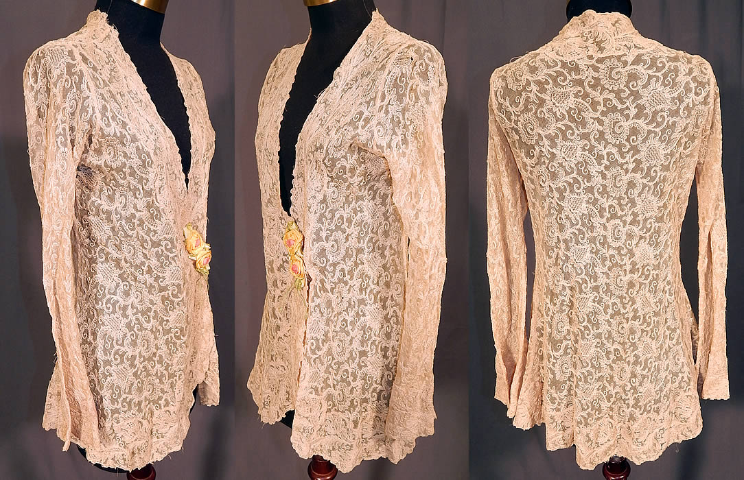 Vintage Silk Ribbon Rosette Trim Cream Tambour Embroidery Net Lace Jacket