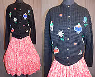 Vintage Austria Hand Embroidered Knit Cardigan Sweater & Novelty Print Circle Skirt