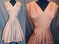 Vintage R & K Original Brown White Polka Dot Print Cotton Circle Skirt Dress