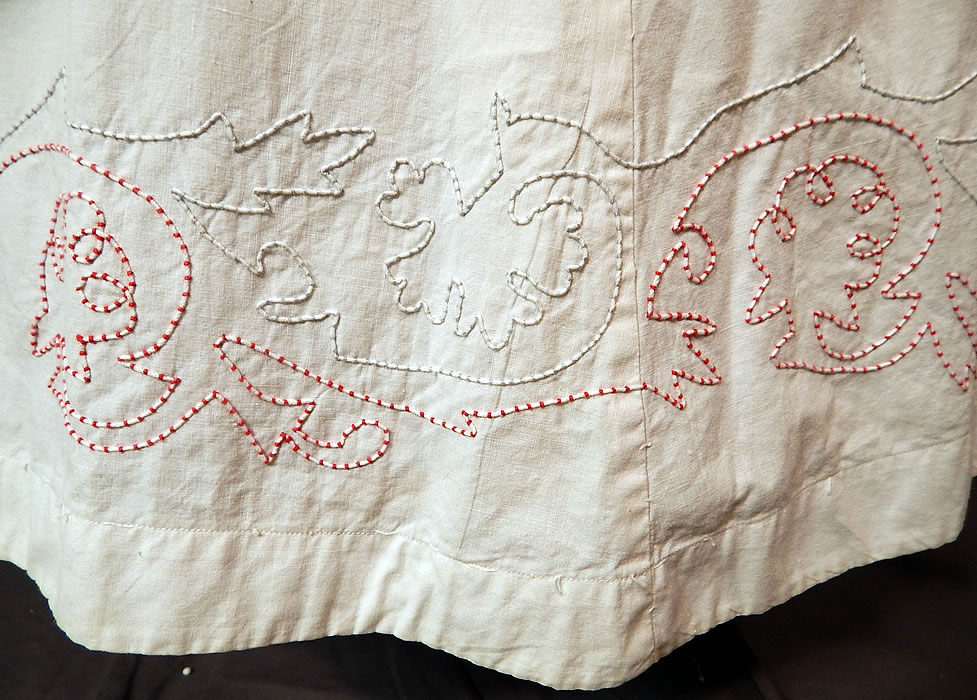 Victorian White Cotton Red Soutache Stitched Embroidery Full Petticoat Skirt