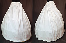 Victorian White Cotton Red Soutache Stitched Embroidery Full Petticoat Skirt Vtg