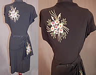 Vintage Black Silk Crepe Chain Stitch Floral Beaded Peplum Cocktail Dress
