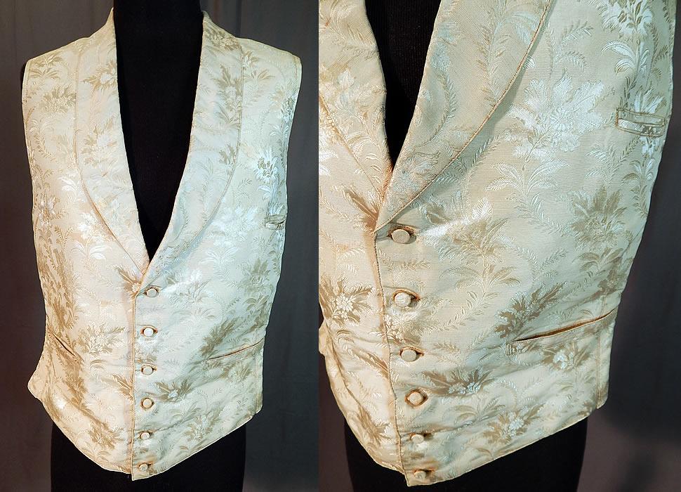 Victorian Gentleman S White Silk Damask Floral Brocade