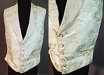 Victorian Gentleman's White Silk Damask Floral Brocade Wedding Waistcoat Vest