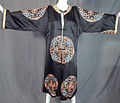 Antique Chinese Black Silk Embroidered Shou Longevity Medallion Gold Couching Coat Robe