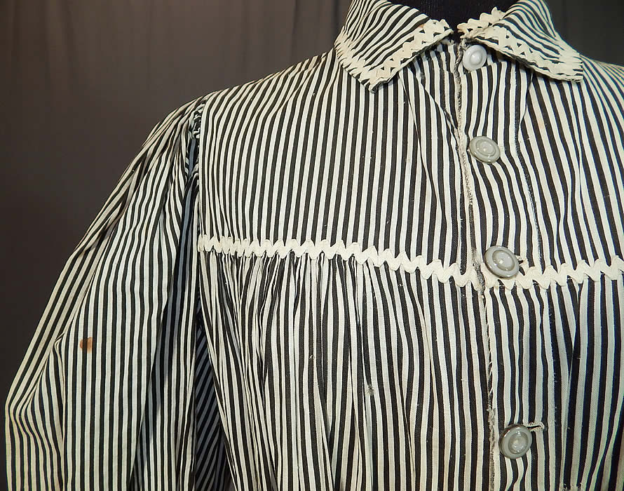 Victorian Black Amp White Striped Cotton Calico Belted