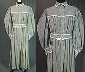 Victorian Black & White Striped Cotton Calico Belted Morning Wrapper Workwear Dress