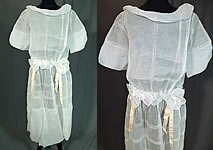 Vintage Windowpane White Organdy Rosette Ribbon Trim Drop Waist Dress
