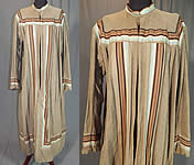 Victorian Taupe Tweed Wool Striped Ribbon Trim Wrapper Morning Dress Robe