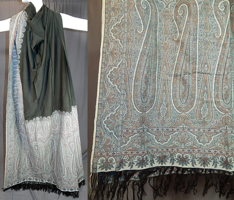 Victorian Antique Large Banquet Size Jacquard Loom Black & Blue Wool Paisley Shawl