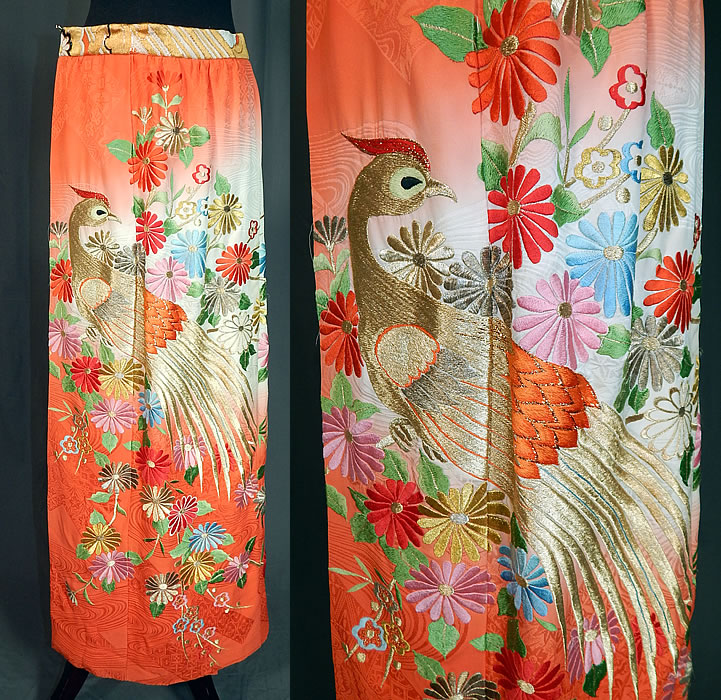 Vintage Japanese Uchikake Wedding Kimono Gold Embroidered Peacock Wrap Maxi Skirt